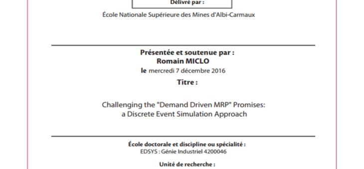 Romain Miclo, sa thèse sur le DDMRP : une première européenne !